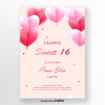 pink romantic balloon sweet 16 invitation letter Template