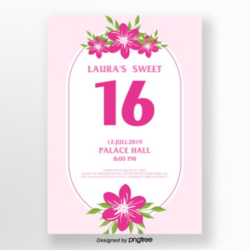 pink romantic flowers 16 invitation letter Template