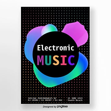 vector flattening summer electro acoustic syllable abstract gradient fluid poster Template