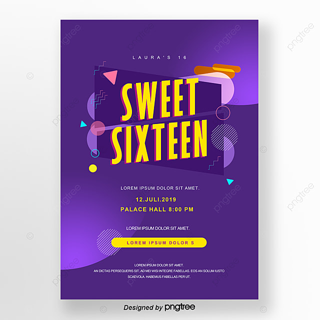 Purple Cosmo Audio Style Kinetic Sweet 16 Invitation Letter Template