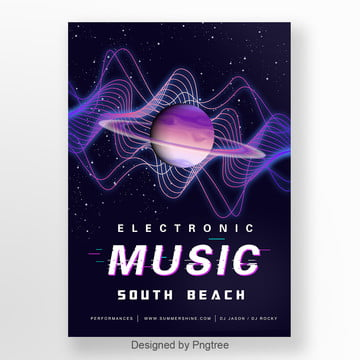 black gradient planet geometry electro acoustic activity poster Template