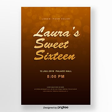 golden brown temperament spot style golden powder sweet 16 invitation letter Template