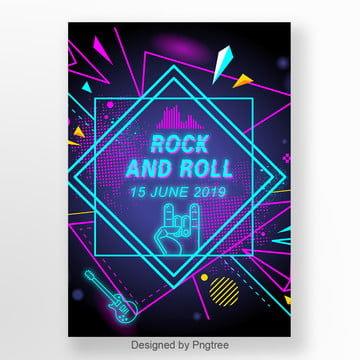 gradual geometry fluorescent rock and roll music activity poster Template