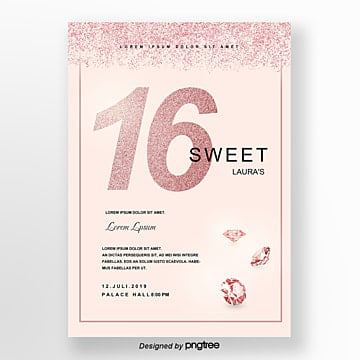 invitation letter for sweet 16  a pink sparkling style sequin Template
