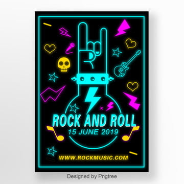 neon fluorescent rock and roll music activity poster Template
