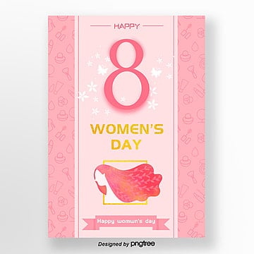 pink fresh lovely international womens day poster, 38, 8, Gold PNG and PSD