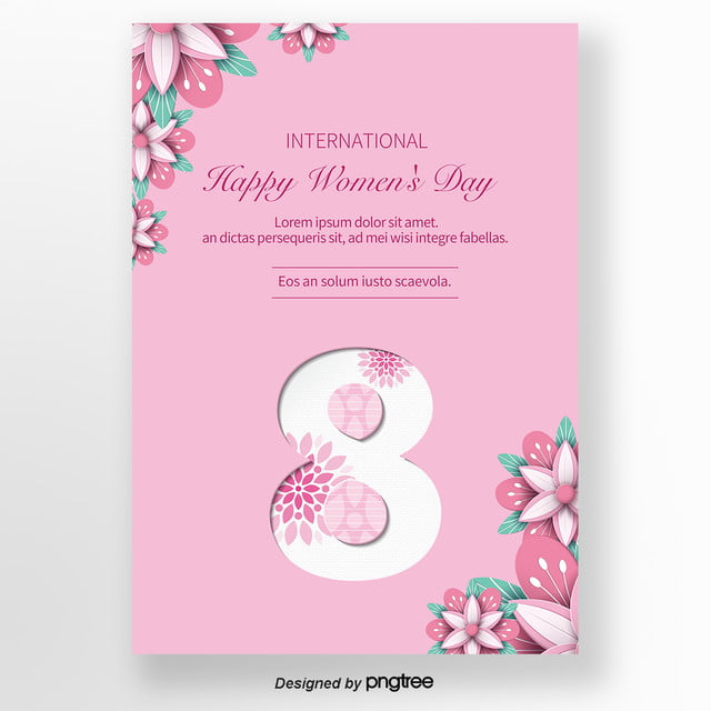 Pink Mothers Day Flyer Template For Free Download On Pngtree: Simple Pink 38-flower Womens Day Card Template For Free
