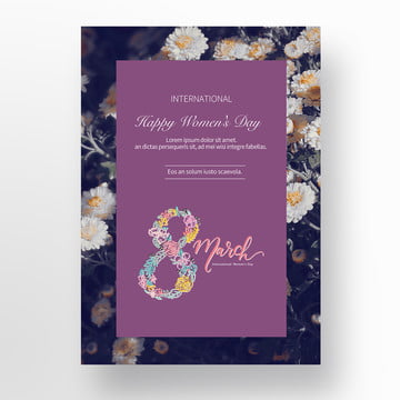 Purple Concise 38 Womens Day Cards, Thirty-eight, Business Template, Business Background PNG and PSD