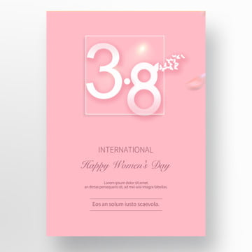 simple pink 38 womens day cards Template