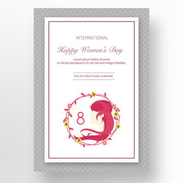 simple pink flowers creative 38 womens day cards Template