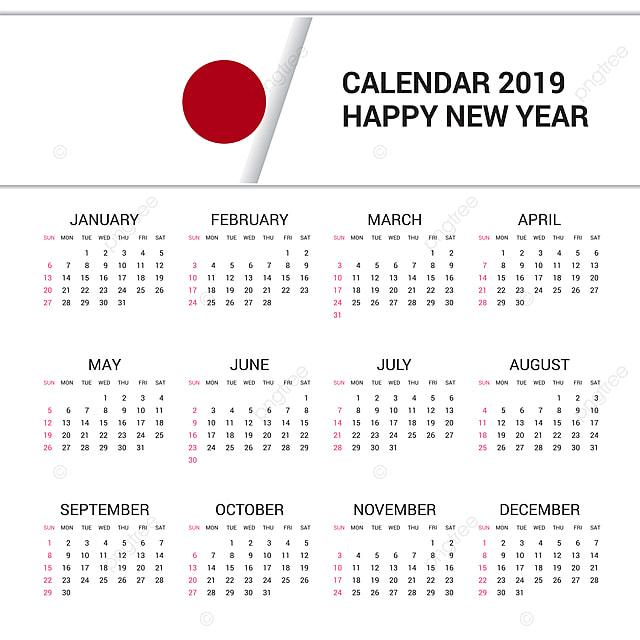 Calendario Giapponese.Calendario 2019 Giappone Flag Sfondo In Lingua Inglese
