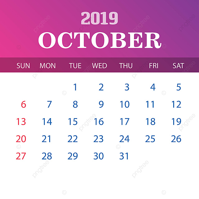 Octobre Calendrier 2019.Calendrier Template Octobre 2019 Modele De Telechargement