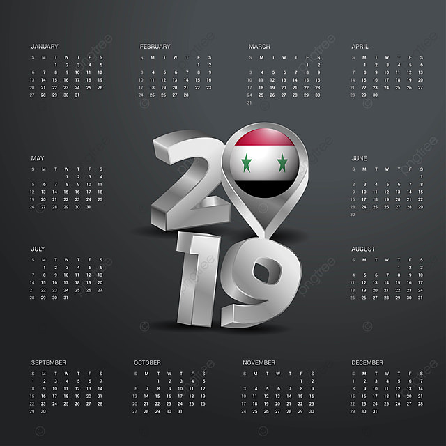 Template Syria | 2019 Calendar Template Grey Typography With Syria Country Map G