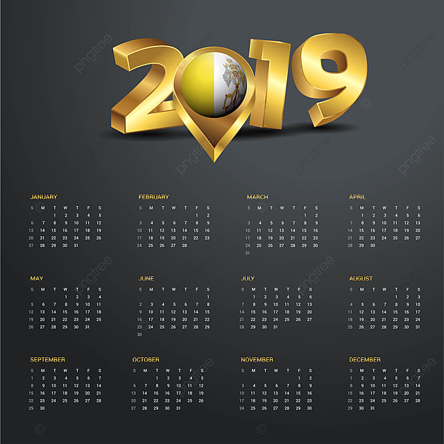 2019 Calendar Template Vatican City Holy See Country Map
