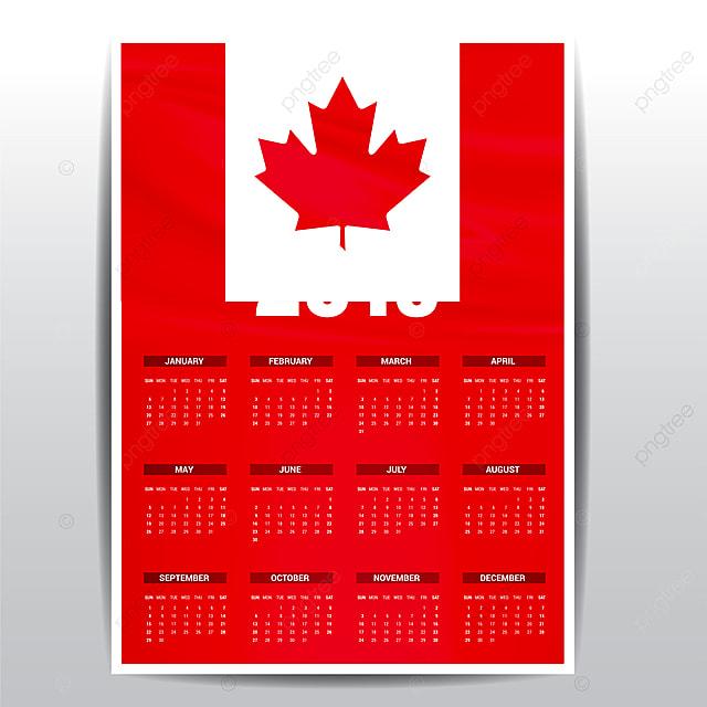 Calendar 2019 Canada Flag Background English Language