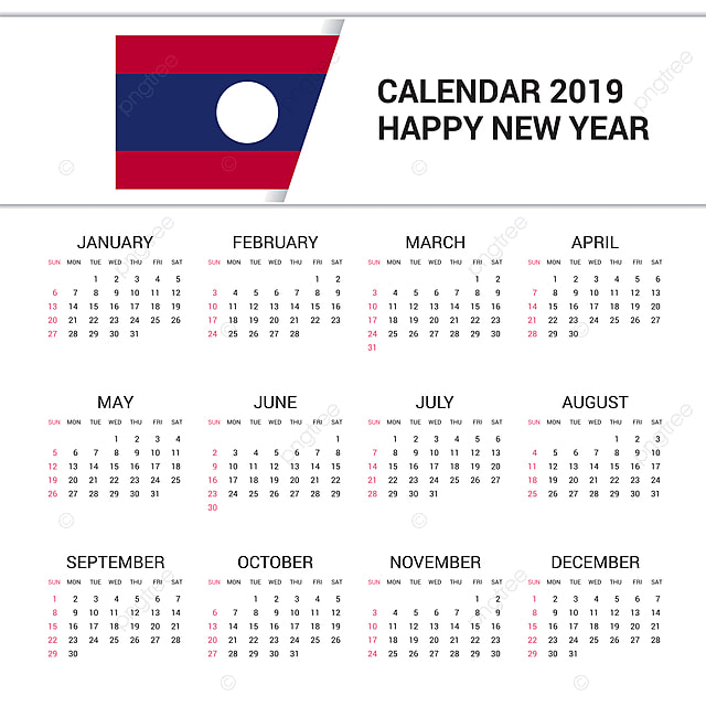 calendar 2019 laos flag background english language Template