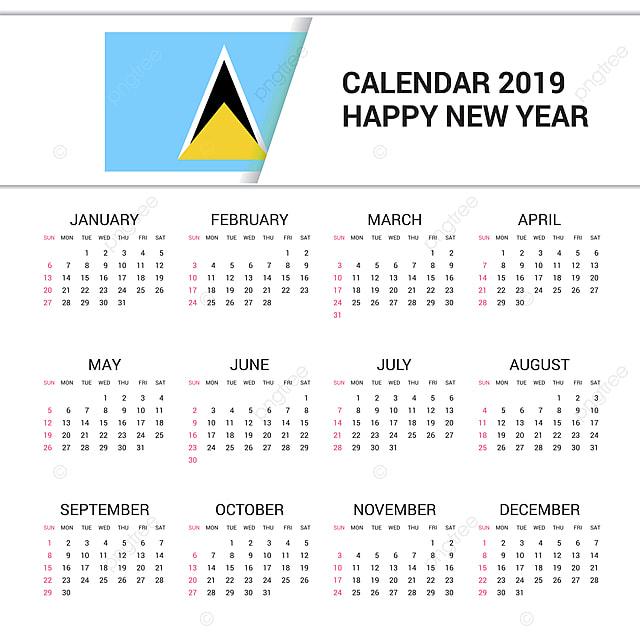 Santa Lucia Calendario.Calendario 2019 Santa Lucia Fondo De Bandera Idioma Ingles