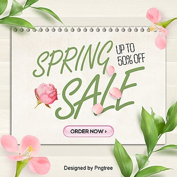 fashion fresh simple flowers spring south korean sns promotional poster Template