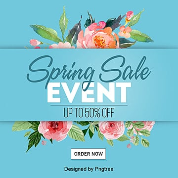 Fashion Trend Hand-painted Spring Flower Sns Advertisement, Sns, Promotion, Cartoon PNG and PSD