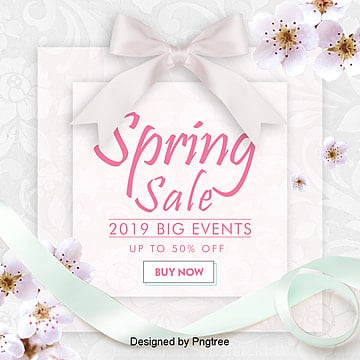 fashionable simple spring promotion sns web poster Template