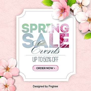 fresh and fashionable simple korean spring promotion sns discount banner Template