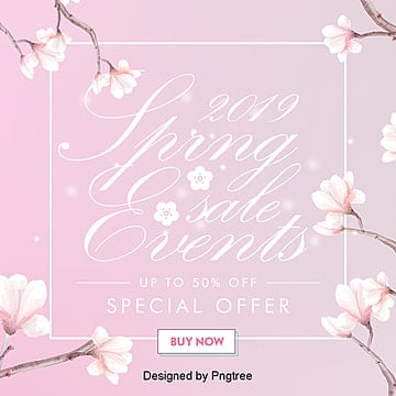 simple fashion handpainted spring promotion sns poster Template