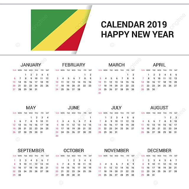 Calendario Repubblica.Calendario Repubblica Del Congo Bandiera Inglese Lan Modello