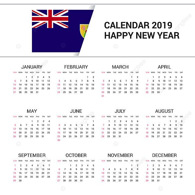 Kalender 2019 Turks Und Caicosinseln Flagge Im Hintergrund