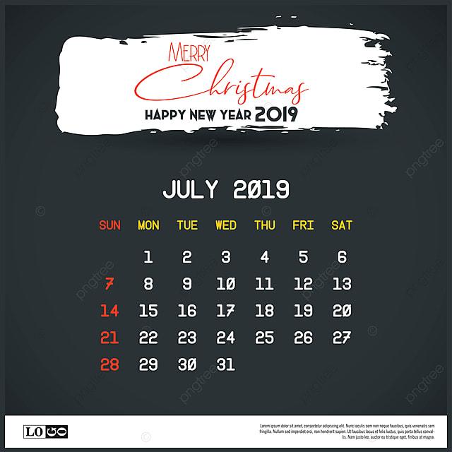Calendario 31 Luglio 2019.Luglio 2019 Anno Nuovo Calendario Modello Pennellata