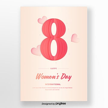 beige hand painted origami posters for womens day Template