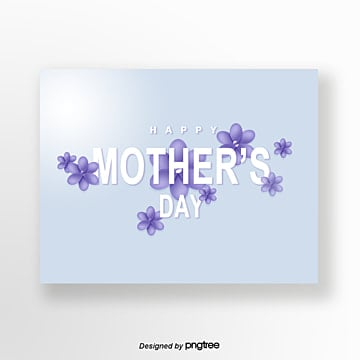 Blue Handpainted Style Three-dimensional Flowers Elegant Mothers Day Greeting Card, Light, Elegant, Female PNG and PSD