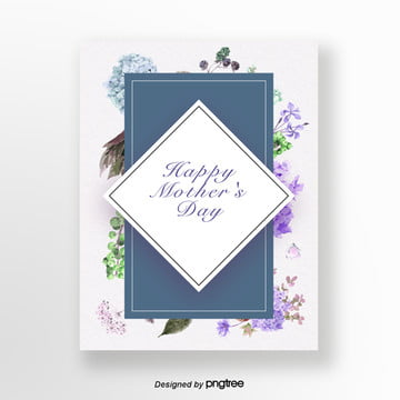 Blue Little Fresh Flowers Mothers Day Card Template
