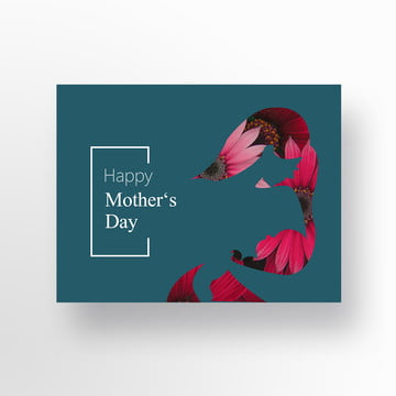 Blue Simple Womens Mothers Day Card Template