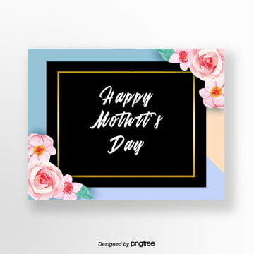 colorful and fresh flowers mothers day card Template