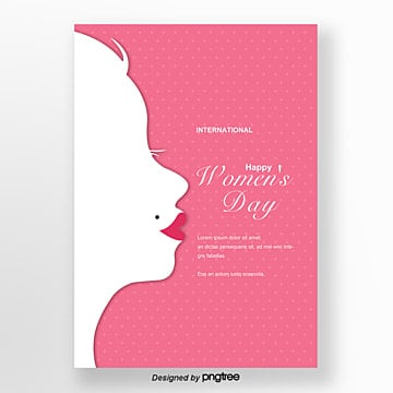 pink woman silhouette womens day poster Template