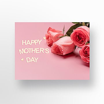 pink tulip mothers day greeting card Template