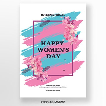 hand painted flowers  womens day poster Template