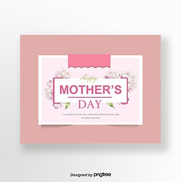 Meat Pink Hand-painted Style Delicate Card Mothers Day Greeting Card, Card, Hand Painted, Mother PNG and PSD