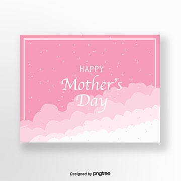 pink gradient clouds mothers day card Template