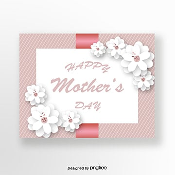 pure flowers in pink origami style mothers day greeting card Template