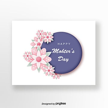 Purple Handpainted Style Pink Flowers Mothers Day Greeting Card, Hand Painted, Mother, Mothers Day PNG and PSD