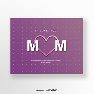 purple origami style mothers day card Template