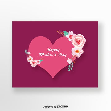 purple simple love mothers day card Template