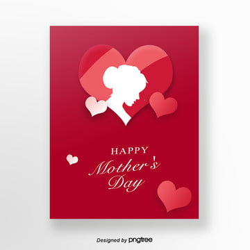 Red Fresh and Loving Mothers Day Card, Business Template, Business Background, Woman PNG and PSD