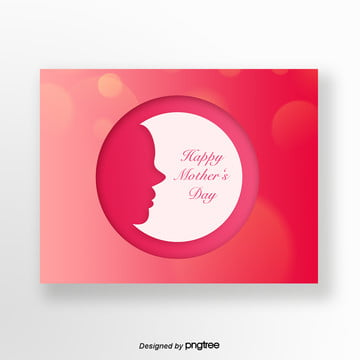 Red Simple Round Mothers Day Silhouette Card Template