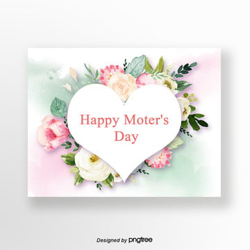 white simple mothers day greeting card Template