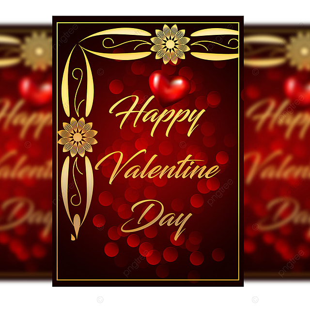valentine day wishing card templates psd with gold frame and bokeh