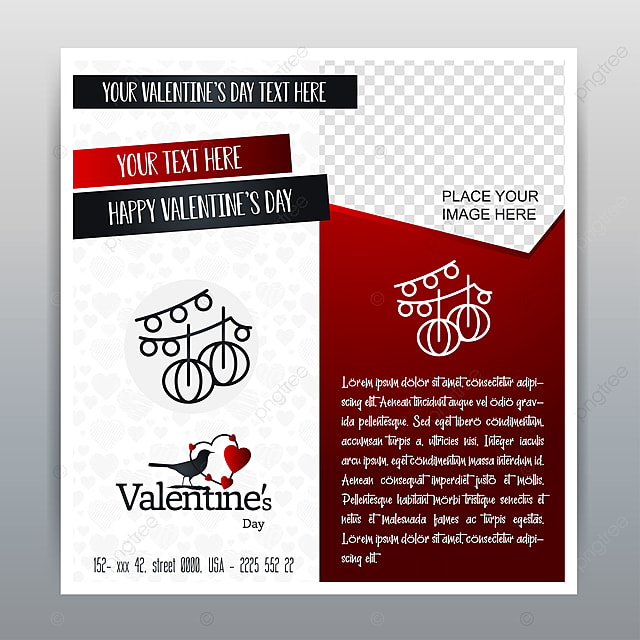 Happy Valentine S Day Red Icon Vertical Banner Red