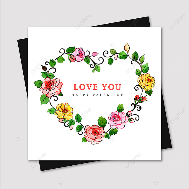 watercolor valentine greeting card template for free