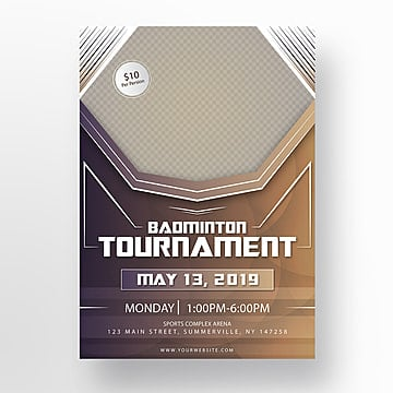 badminton sports game poster design Template